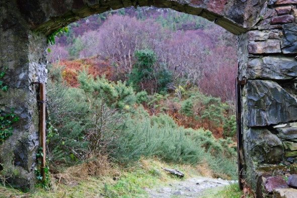 Looking at the stone archway, from inside the open-air church, Plockton